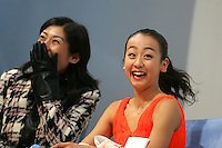 November 18, 2005; Paris, France;(R) Figure skating star MAO ASADA of Japan celebrates her winning score in ladies short program with (L) coach Mihoko Higuchi.  Asada went onto win gold in ladies figure skating at Trophee Eric Bompard, ISU Paris Grand Prix competition.  Asada is just 15 years old and not eligible for the Torino 2006 Olympics, yet still a bright hope in Japanese figure skating for championships..Mandatory Credit: Tom Theobald/ ZUMA Press..(©) Copyright 2005 Tom Theobald