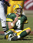 Green Bay Packers visited Sun Devil Stadium and the  Arizona Cardinals Sunday and came away with a 29-3 win. Green bay's Brett Favre smile after sliding for a very short gain after keeping the ball on a pass attempt. WSJ/STEVE APPS.