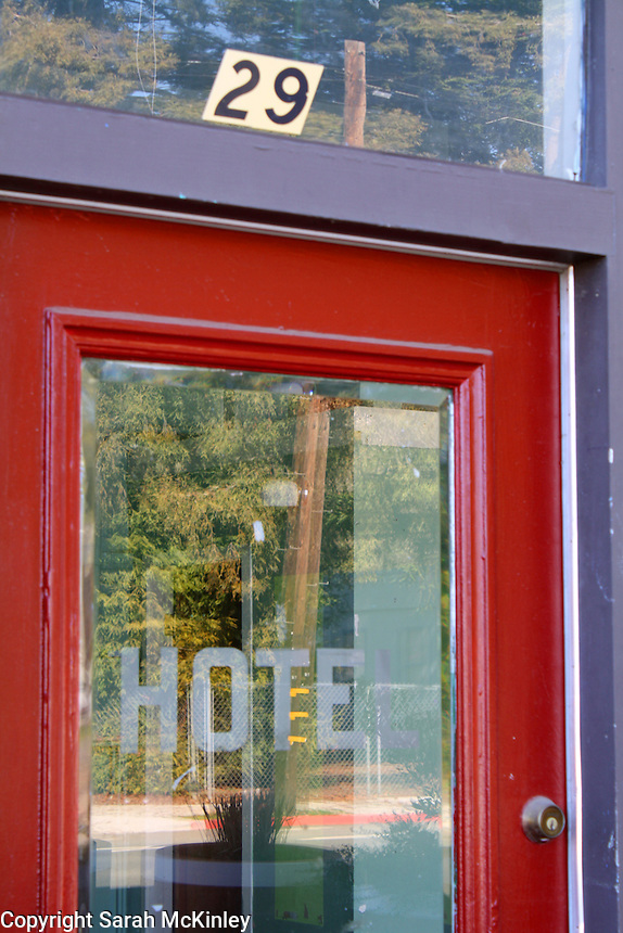 The red door to the old Hotel Van in Willits in Mendocino County in Northern California.
