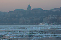 Floating ice is seen on river Danube in front of the Castle of Buda building in Budapest, Hungary on January 11, 2017. ATTILA VOLGYI