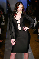 Model walks runway in an outfit from the Marseille Fashions Fall 2012 collection, by David Marseille, at Plitzs Fashion Week New York, during New York Fashion Week Fall 2012.