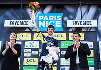 Picture by Alex Broadway/SWpix.com - 10/03/17 - Cycling - 2017 Paris Nice - Stage Six - Aubagne to Fayence - Simon Yates of Orica-Scott on the podium after winning Stage Six.