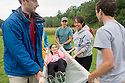 From left, Christopher Meserve, Jacqueline Wade, John McLaren, Alyssa Kwok, Joseph Miller. Outdoor team building activities. Wilderness medicine.