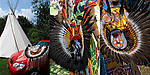 Triptych of Native American regalia at the Thunderbird Pow-Wow at Queens County Farm Museum. Regalia is an example of the Native Americans heritage and ethnic pride social gathering celebration.<br /> <br /> Tepee Regalia - GOR-47161-07<br /> Bustle  Regalia - GOR-86452-11<br /> Busltle Regalia - GOR-86447-11
