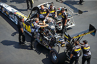 Sep 17, 2016; Concord, NC, USA; Crew members with NHRA top fuel driver Leah Pritchett during qualifying for the Carolina Nationals at zMax Dragway. Mandatory Credit: Mark J. Rebilas-USA TODAY Sports