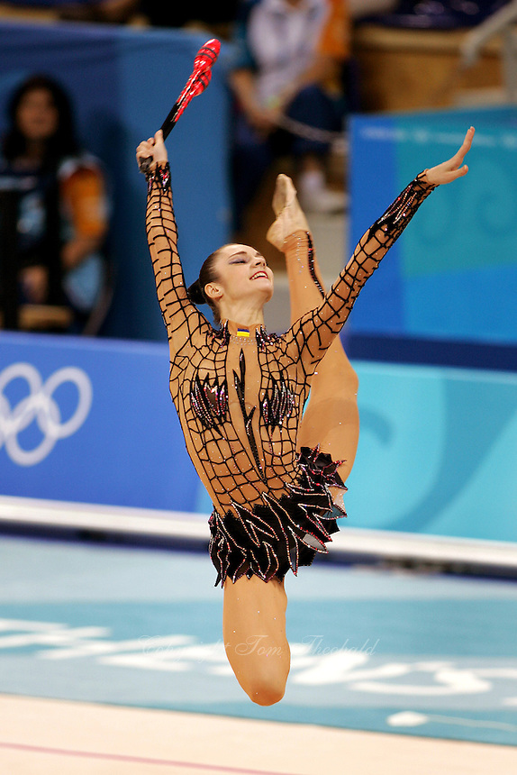 Anna Bessonova of Ukraine stag leaps with clubs during qualifications round at 2004 Athens Olympic Games on August 27, 2006 at Athens, Greece. (Photo by Tom Theobald)