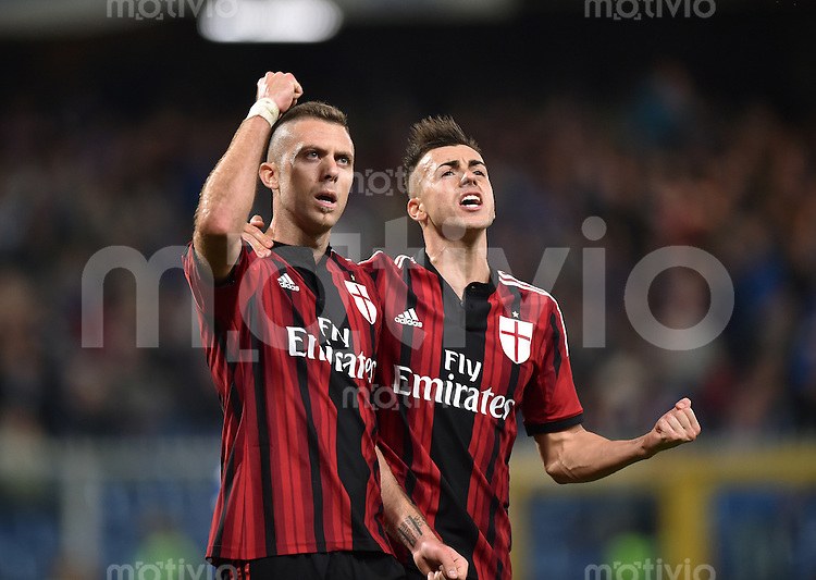 FUSSBALL INTERNATIONAL   SERIE A   SAISON  2014/2015   11. Spieltag Sampdoria Genua - AC Mailand                     08.11.2014 Jubel AC Mailand; Jeremy Menez (li) und Stephan El Shaarawy