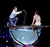 Amaluna from Cirque du Soleil at The Royal Albert Hall, London, <br /> Great Britain <br /> performance <br /> 15th January 2016 <br /> <br /> Water Bowl and Miranda - Iulilia Mykhailova<br /> Romeo - Evgeny Kurkin <br /> <br /> <br /> Photograph by Elliott Franks <br /> Image licensed to Elliott Franks Photography Services