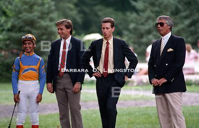 Jose Santos, Jeff Lukas, Todd Pletcher, Wayne Lukas, photographed at Saratoga Race Course during the 1989 meeting