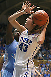 06 February 2012: Duke's Allison Vernerey (FRA) (43) is defended by North Carolina's Laura Broomfield (behind). The Duke University Blue Devils defeated the University of North Carolina Tar Heels 96-56 at Cameron Indoor Stadium in Durham, North Carolina in an NCAA Division I Women's basketball game.