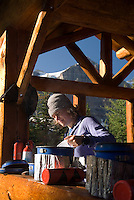 The Highline trail, Alberta and British Columbia, Canada, August 2008. Breakfast at Lake Magog Campground. The Banff Highline trail can be hiked in 7 days and runs through Banff National park as well as Assiniboine Provincial park. Photo by Frits Meyst/Adventure4ever.com