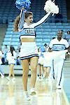 11 November 2012: UNC cheerleader. The University of North Carolina Tar Heels played the Duquesne University Dukes at Carmichael Arena in Chapel Hill, North Carolina in an NCAA Division I Women's Basketball game, and a quarterfinal in the Preseason WNIT. UNC won the game 62-58