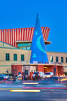Roy E. Disney Animation Building in Burbank; CA. Sunset, Blue Sky, Magic Hour, Twilight, Car Lights Streaking, Beautiful