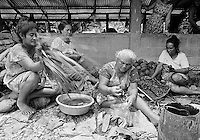 Local people preparing banquet food at cultural event in Tuvalu, South Pacific