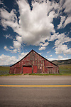 Weathered red wooden barn, Sierra Valley, Loyalton, Calif.
