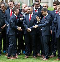 King Philippe & Queen Mathilde of Belgium welcome Belgian national soccer team Red Devils - Belgium