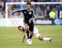 Chris Wondolowski of Earthquakes in action during the game against Galaxy at Stanford Stadium in Palo Alto, California on June 30th, 2012.  San Jose Earthquakes defeated LA Galaxy, 4-3.
