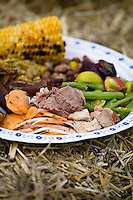 Paper plate sitting on a bale of straw and loaded with turkey, corn, carrots, beans and other food cooked outdoors at the harvest feast at McVean Incubator Farm, Brampton, Ontario. October 5, 2008