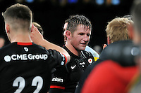 Ernst Joubert of Saracens is all smiles having just played his final game for the club. Aviva Premiership match, between Saracens and Worcester Warriors on November 28, 2015 at Twickenham Stadium in London, England. Photo by: Patrick Khachfe / JMP