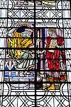 Stained Glass Window in Salisbury Cathedral Church; Salisbury; England; UK