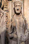 Gothic statues  from the South Porch of Cathedral of Chartres, France. . A UNESCO World Heritage Site.
