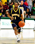 13 December 2009: Quinnipiac University Bobcats' guard Deontay Twyman, a Junior from Olney, MD, in action against the University of Vermont Catamounts at Patrick Gymnasium in Burlington, Vermont. The Catamounts defeated the visiting Bobcats 80-77 to mark the Cats' season home opener with a win. Mandatory Credit: Ed Wolfstein Photo