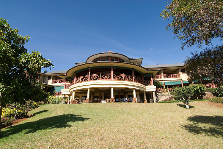 Hawaii: Molokai, The Lodge at Molokai Ranch, a major lodging with a handsome facade, swimming pool, Great Room lobby, and ranch-decor guest roooms..Photo himolo184-72329..Photo copyright Lee Foster, www.fostertravel.com, lee@fostertravel.com, 510-549-2202