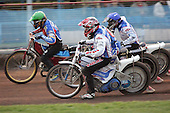 Heat 5 - Kasprzak (green), Zagar (red), Lemon - Reading Bulldogs vs Lakeside Hammers - Elite League Speedway at Smallmead, Reading- 23-04-07 - MANDATORY CREDIT: Gavin Ellis/TGSPHOTO - IMAGES USED WILL BE INVOICED AT STANDARD RATES..