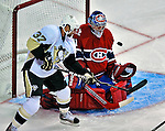 21 September 2009: Pittsburgh Penguins' left wing forward Ryan Bayda (37) works the crease as the Penguins tie the game 1-1 on a  Sergei Gonchar wrist shot during the second period of a pre-season game against the Montreal Canadiens at the Bell Centre in Montreal, Quebec, Canada. The Canadiens edged out the defending Stanley Cup Champions 4-3. Mandatory Credit: Ed Wolfstein Photo