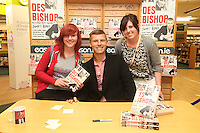 NO REPRO FEE. 8/10/2011.Eason, Ireland's leading retailer of books, stationery, magazines and lots more, hosted a book signing by comedian Des Bishop. Pictured at Eason O'Connell Street, Dublin are fans Aoife O Hara from Finglas and Joanne O Hara from Balgriffin and Des Bishop who signed copies of his new book My Dad was nearly James Bond. Follow Eason on Twitter - @easons For further information, please contact: Aoife McDonald WHPR 087 4100777 Picture James Horan/Collins Photos