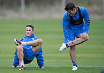 St Johnstone Training&hellip;..21.10.16<br />Chris Millar and Michael Coulson pictured during training ahead of Sunday&rsquo;s game against local rivals Dundee<br />Picture by Graeme Hart.<br />Copyright Perthshire Picture Agency<br />Tel: 01738 623350  Mobile: 07990 594431