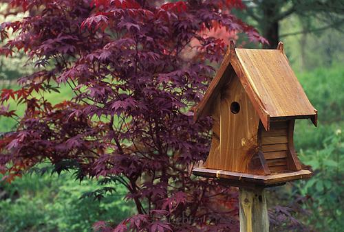 Cedar birdhouse with decorative eaves