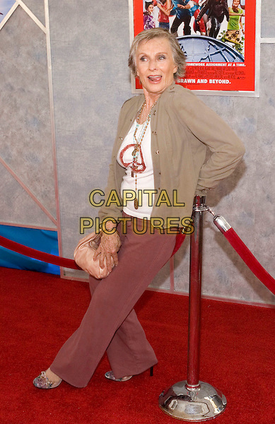 CLORIS LEACHMAN.Walt Disney Pictures' World Premiere of 'Sky High' held at the El Capitan Theatre, Hollywood, California.  .July 24th, 2005.Photo Credit: Zach Lipp/AdMedia.full length peace sign t shirt t-shirt brown jacket leaning gesture purse trousers pink purse bag funny.www.capitalpictures.com.sales@capitalpictures.com.© Capital Pictures.