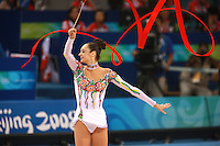 August 23, 2008; Beijing, China; Rhythmic gymnast Anna Bessonova of Ukraine prepares performs with ribbon on way to winning bronze in the All-Around final at 2008 Beijing Olympics..