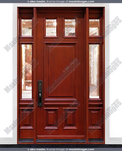 Modern wooden panel door in a wall
