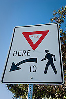Yield to Pedestrian crossing, Sign, Symbols, New