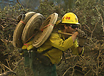 Greeley Hill, California-- July 30, 2008-Telegraph Fire-Wildfires Threaten Yosemite National Park.Forest Service firefighter from return after supporting crews that were cutting fire line on Division L, Wednesday, July 30,2008.  His engine made a hose lay to provide water where needed. Division L is on the leading edge of the fire and is threatening Greeley Hill..Photo by Al GOLUB/Golub Photography