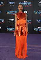 """HOLLYWOOD, CA - April 19: Zoe Saldana, At Premiere Of Disney And Marvel's """"Guardians Of The Galaxy Vol. 2"""" At The Dolby Theatre  In California on April 19, 2017. Credit: FS/MediaPunch"""