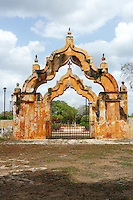 Moorish double arch gate at the entrance to Hacienda Yaxcopoil, Yucatan, Mexico
