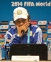 Argentina coach Alejandro Sabella looks dejected during the press conference
