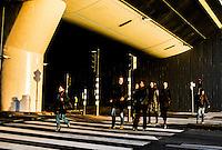 Nederland, Amsterdam, 19 feb 2016<br /> Mensen lopen over zebrapad bij ns station Bijlmer Arena.<br /> <br /> Foto (c) Michiel Wijnbergh