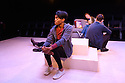 "Damsel Productions presents, Soho Young Writer Award Winner, Phoebe Eclair-Powell's play ""Fury"" at Soho Theatre. Directed by Hannah Bauer-King, with set design by Anna Reid, and lighting design by Natasha Chivers. Picture shows: Anita-Joy Uwajeh, Alex Austin (Tom), Daniel Kendrick"