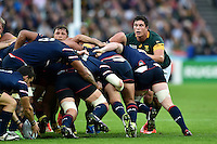 Francois Louw of South Africa looks on from a scrum. Rugby World Cup Pool B match between South Africa and the USA on October 7, 2015 at The Stadium, Queen Elizabeth Olympic Park in London, England. Photo by: Patrick Khachfe / Onside Images
