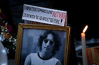 A memorial set up for John Lennon around the 'Strawberry Fields' it's seen in Central Park during the 35-year anniversary of his death in New York December 8, 2015. The death of John Lennon still reverberates as a defining moment for a generation and for the music world. Police said the shooting occurred outside the Dakota, the century-old luxury apartment house where Lennon and his wife, Yoko Ono, lived. It is across the street from Central Park. Kena Betancur/VIEWpress.