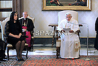 Pope Benedict XVI (R) meets with Tsetska Tsacheva, President of the National Assembly of Bulgaria during a private audience at the Vatican, on May 23, 2011.