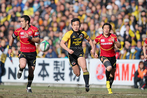 Hirotoki Onozawa (Sungoliath), JANUARY 27, 2013 - Rugby : Japan Rugby Top League 2012-2013 Playoff Tournament final match between Suntory Sungoliath 19-3 Toshiba Brave Lupus at Prince Chichibu Memorial Stadium in Tokyo, Japan. (Photo by Yusuke Nakanishi/AFLO SPORT)