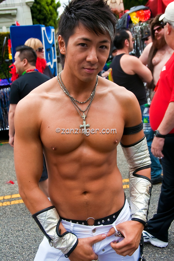 Gay & Lesbian; Gay Pride; Parade; L.A.; Pride Festival; LA Pride 2011 Asian Male, Participant, Great Stomach Abs; West Hollywood; 41st Annual; Los Angeles CA; Santa Monica; Boulevard; West Hollywood;