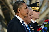 United States President Barack Obama (L), Vice President Joe Biden (C) and Major General Michael S. Linnington (R), Commander of the US Army Military District of Washington, participate in a wreath-laying ceremony at the Tomb of the Unknown Soldier in Arlington National Cemetery, Arlington, Virginia, USA, 20 January 2013..Credit: Michael Reynolds / Pool via CNP