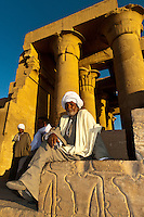 Egyptian man, Temple of Haruris and Sobek at Kom Ombo, on the Nile River, Egypt