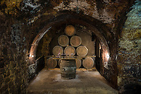Oak barrels of Rioja wine at Carlos San Pedro Bodega winery in medieval town of Laguardia in Basque country, Spain